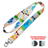 Lucky Line Beach Lanyard with palm trees sunglasses slip flops goes with beach key shapes C201