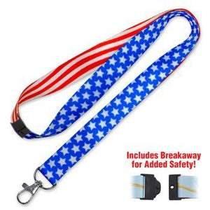 Lucky Line patriotic lanyard fits around the neck to hold your badge keys or small items C206