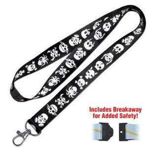 Lucky Line Skull Lanyard fits around the neck to hold your badge, keys, or small items C209