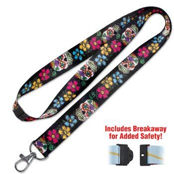 Lucky Line Sugar Skulls Lanyard fits around the neck to hold your badge, keys, or small items C210