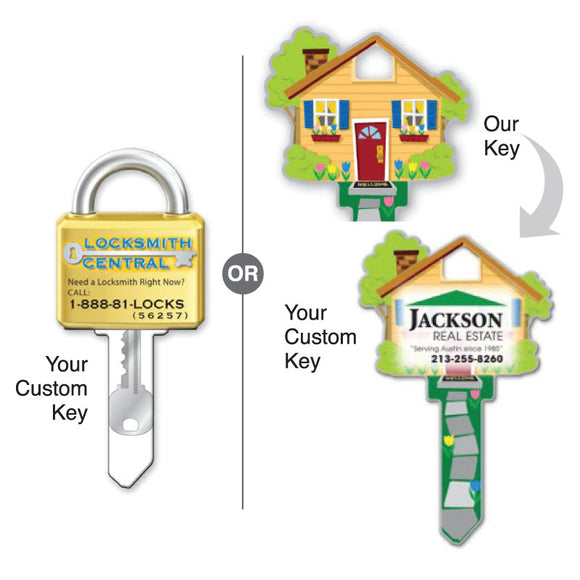Grow Your business with Lucky Line custom house keys, promotional key shape, custom key shape