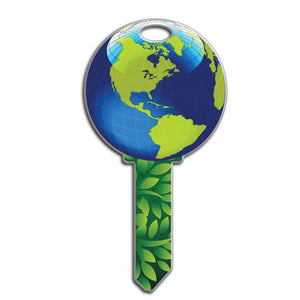 Lucky Line Earth Plant Global Key Shapes decorative house key B127
