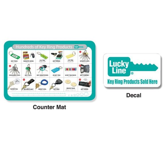 Lucky Line Counter Mat & Decal retail solutions for locksmiths and hardware stores