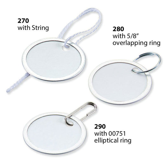 Lucky Line paper key tags with anodized metal rim ideal for price tags or products identification 270 280 290