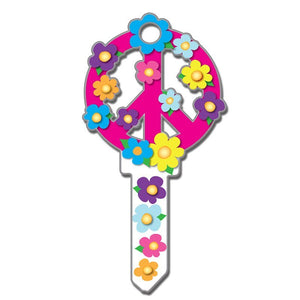 Lucky Line Peace Sign Flower Key Shapes decorative house key B104