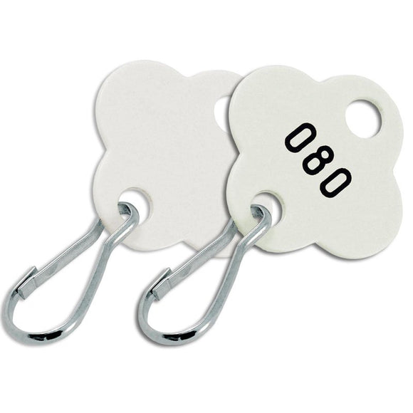 Lucky Line shamrock cabinet key tags made for use in key cabinets supplied with a hook and numbered 257