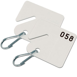 Lucky Line Square Slotted Cabinet Tags for use in key cabinets with numbering system supplied with a hook