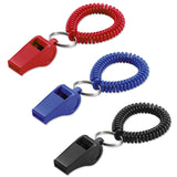 Lucky Line Wrist Coil with Whistle for lifeguards durable and comes in black blue red 423