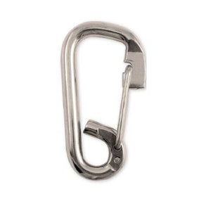 Stainless Loop Spring Snaps, Wire Gate  for fasteners or quick attachment. Closed eye isolates rope or other fittings