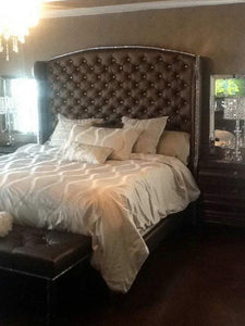 Crystal Diamond Tufted Wingback Headboard with Bed Frame and Bench Set (King, Extra Extra Tall) - Handcrafted by Samantha