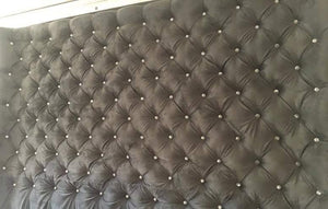Diamond Tufted Concave Wingback Headboard and Bed Frame Set (King, Extra Extra Tall) - Handcrafted by Samantha
