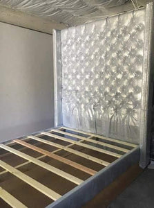 Diamond Tufted Metallic Gator Wingback Headboard and Bed Frame Set (Queen, Extra Extra Tall) - Handcrafted by Samantha