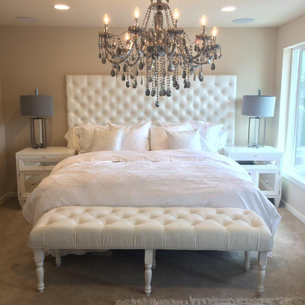 Extra-Wide King Diamond Tufted Headboard, Bed Frame and Bench Set in White Velvet (Wide King, Extra Tall)
