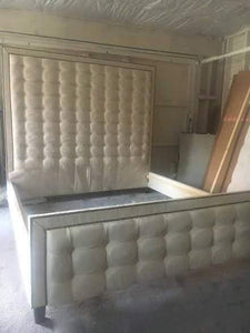 Linear Tufted Headboard and Footboard with Double Nailhead Border- King size, Extra Tall - Handcrafted by Samantha