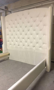 "Velvet Diamond Tufted Wingback Headboard and Upholstered Bed Frame (Queen 70"" extra tall) - Handcrafted by Samantha"