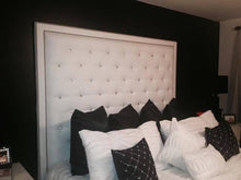 Load image into Gallery viewer, White Faux Leather, Crystal Button Tufted Headboard with Double Nailhead Border and Bed Frame (King, Extra Tall) - Handcrafted by Samantha