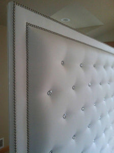 White Faux Leather, Crystal Button Tufted Headboard with Double Nailhead Border and Bed Frame (King, Extra Tall) - Handcrafted by Samantha