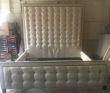 Load image into Gallery viewer, Linear Tufted Headboard and Footboard with Double Nailhead Border- King size, Extra Tall - Handcrafted by Samantha