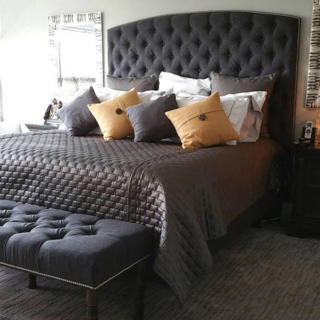 Diamond Tufted Headboard and Bench Set in Charcoal Linen (King, Extra Tall)