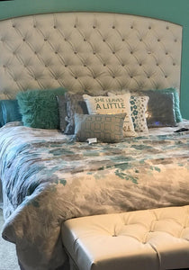 Crystal Diamond Tufted Headboard and Bench Set in Charcoal Linen (King, Extra Tall) - Handcrafted by Samantha