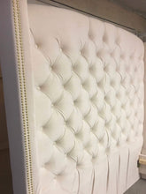 "Load image into Gallery viewer, Velvet Diamond Tufted Wingback Headboard and Upholstered Bed Frame (Queen 70"" extra tall) - Handcrafted by Samantha"