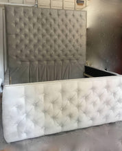 "Load image into Gallery viewer, Velvet Diamond Tufted Headboard and Tufted Bed Frame (King 80"" tall) - Handcrafted by Samantha"