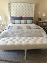 "Load image into Gallery viewer, Velvet Diamond Tufted Wingback Headboard and Upholstered Bed Frame (Queen 70"" extra tall)"