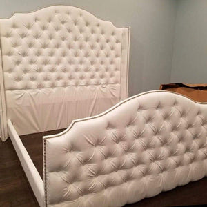 Diamond Tufted Arched Cavendish Wingback Headboard, Footboard, and Bed Frame Set (King, Extra Tall)