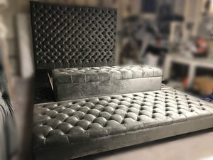 Tufted Headboard and Tufted Bed Frame with Storage Bench and Extended Ottoman (King size)