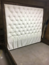 Load image into Gallery viewer, Diamond Tufted Faux Leather Headboard with Wood Border and Wood Bed Frame  (King, Extra Tall) - Handcrafted by Samantha