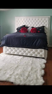 Crystal Diamond Tufted Storage Bed (King Size) - Handcrafted by Samantha