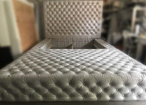 Tufted Headboard with Tufted Bed Frame and Ottoman (King)