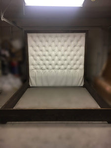 Diamond Tufted Faux Leather Headboard with Wood Border and Wood Bed Frame  (King, Extra Tall) - Handcrafted by Samantha