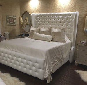 "Diamond Tufted Wingback Headboard and Bed Frame with Tufted Footboard in (King 80"" tall)"