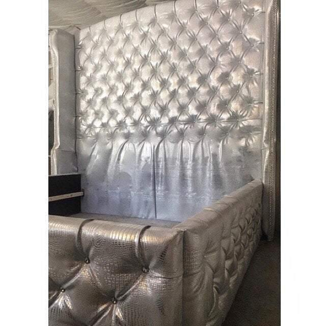 Slightly Arched Diamond Tufted Wingback Headboard and Bed Frame in Faux Leather (King 85