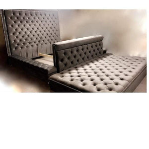Diamond Tufted Crystal Oversized Bed with Rolled footboard and Storage Ottoman- king size - Handcrafted by Samantha