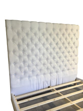Load image into Gallery viewer, Diamond Tufted Linen Headboard and Upholstered Bed Frame Set- King size, Extra Tall - Handcrafted by Samantha
