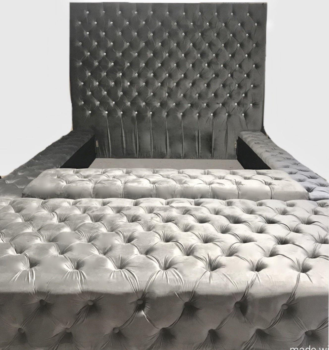 Tufted Headboard and Tufted Bedframe with Storage Bench and Extended Ottoman (King size) - Handcrafted by Samantha