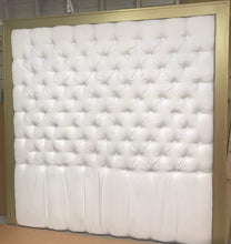 "Load image into Gallery viewer, Tufted Headboard with Gold Frame king 80"" tall - Handcrafted by Samantha"