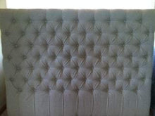 "Load image into Gallery viewer, Diamond Tufted Linen Headboard (King, 60"" tall) - Handcrafted by Samantha"