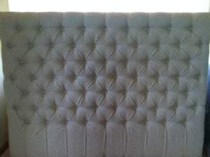"Diamond Tufted Linen Headboard (King, 60"" tall) - Handcrafted by Samantha"