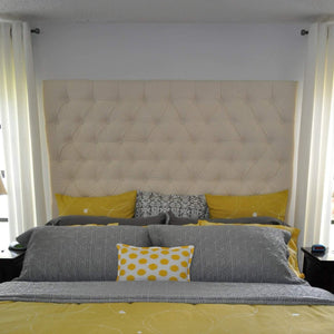 Diamond Tufted Cotton Canvas Headboard (King, Tall) - Handcrafted by Samantha
