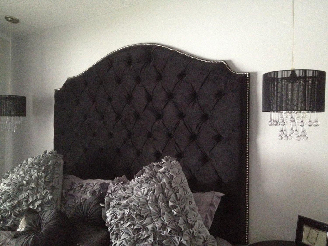 Black Velvet Diamond Tufted Elongated Cavendish Shape Headboard with Nailhead Border (King, Extra Tall) - Handcrafted by Samantha