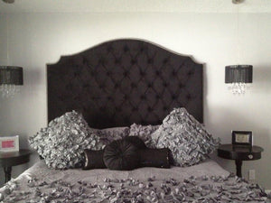 Black Velvet Diamond Tufted Elongated Cavendish Shape Headboard with Nailhead Border (King, Extra Tall)