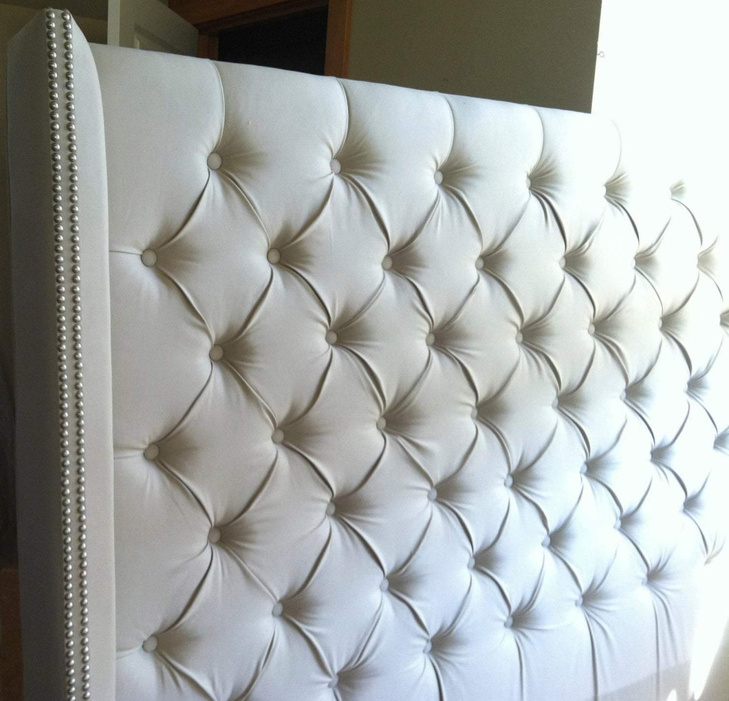 Diamond Tufted Twill Wingback Headboard (King, Extra Tall)