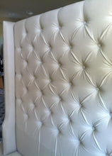 Load image into Gallery viewer, Diamond Tufted Twill Wingback Headboard (King, Extra Tall)