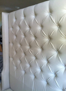 Diamond Tufted Twill Wingback Headboard (King, Extra Tall) - Handcrafted by Samantha