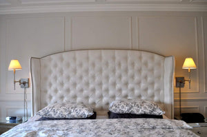 Diamond Tufted Slightly Arched Linen Wingback Headboard and Bed Frame (King, Extra Tall) - Handcrafted by Samantha