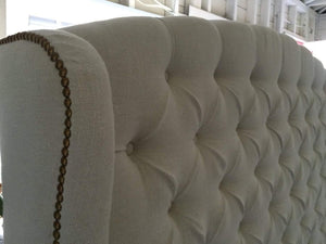 Diamond Tufted Slightly Arched Linen Wingback Headboard (King, Extra Tall)