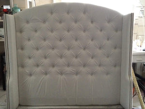 Diamond Tufted Slightly Arched Wingback Headboard - Handcrafted by Samantha